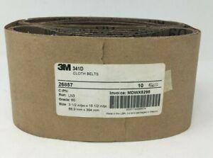 """3M 341D Cloth Belt  26857 3""""1/2 X15""""1/2 60 Grade 10 PK"""