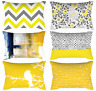 "12x20"" Yellow Home Decor Cushion COVER Sofa Bed Gray Chevron Grey Pillow Case US"