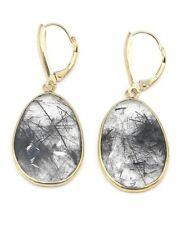 Rhodonite Black Hanging Earrings,14K Yellow Gold, Lever Backs