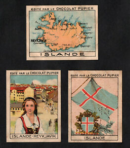 Iceland 1938 Rare French Chocolate Cards Flag Map Reykjavic Dress Costume