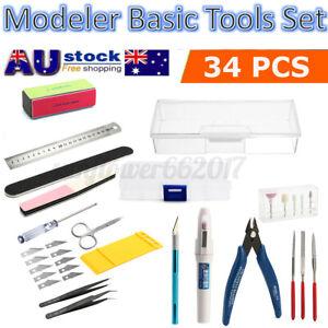 34x Basic Tools Craft Set For Hobby Model Building Kit Grinding FOR GUNDAM New