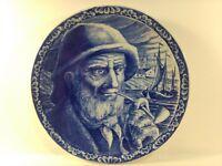 Vintage Boch Freres La Louviere Belgium Delfts Plate Old Man Fisherman pl425