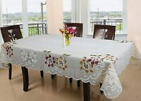Floral Cotton 6 Seater Dinning Table Cover - Creme