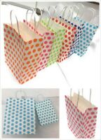 Polka Dot Party Bags - Kraft Paper Carrier Gift Loot Bag Twisted Handle CHEAPEST