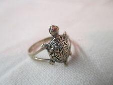 size 8 3/4 Vintage Sterling Ring Turtle