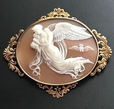 XX- Fine Large Antique Shell Cameo Brooch Thorvaldsen's Night 18k Gold