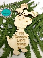 Personalised This Daddy belongs to keyring, Daddy, grandad, Roarsome, dinosaur