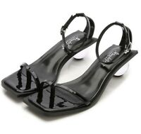 Chic Women Patent Leather Shoes Shiny Square Toe Buckle New Casual Round Heel