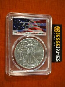 2021 (W) SILVER EAGLE PCGS MS70 FLAG THOMAS CLEVELAND FIRST STRIKE TYPE 1