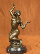 SIGNED BRONZE DETAILED STATUE NUDE HANDCRAFTED SCULPTURE ON MARBLE BASE