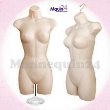 One Female Torso Mannequin - Flesh Women Dress Form w/ Stand & Hook for Hanging