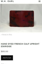 W H Earl hand dyed French calf Upright Eskridge Wallet. New in box. USA made