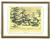 Vintage Currier & Ives Snowed Up Ruffed Grouse Winter Framed Bookplate Print 9x7