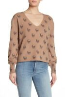SKULL CASHMERE - V-Neck Sweater CAMEL/CHARCOAL NWT $311 Size-XS