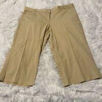 """Nautica Womens Size 14 Brown Khaki Chino Bermuda Shorts 16"""" Inseam EUC"""