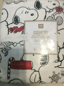 Pottery Barn Teen Peanuts Holiday Flannel Queen Sheet Set Christmas Snoopy NWT