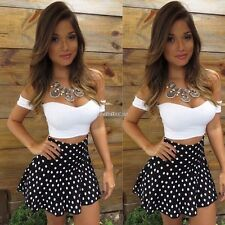 Women Short Sleeve Bodycon Crop Top Dot Skirt Party Cocktail Dress Clubwear Sets