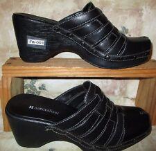 Naturalizer Women's Black Leather Slip-On sLIDES 8 M Brazil Made