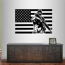 Vinyl Decal Flag USA Soldier Military Service Man Army Weapons Wall Sticker 79