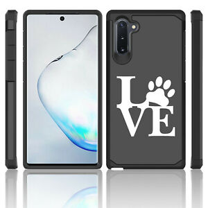 For Samsung Galaxy Note 10 + Shockproof Hard Case Cover LOVE Paw Print