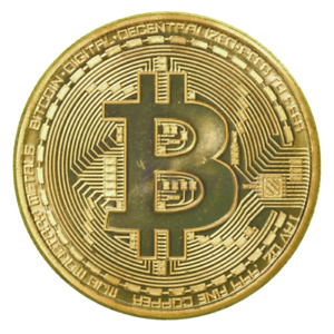 Bitcoin Physical Collectible Coin BTC Gold Plated 40mm - UK STOCK