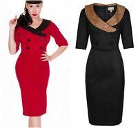 Lindy Bop Retro Vintage 50s Deanna Red Black Animal Pencil Wiggle Dress  8-24