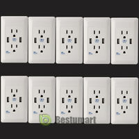 LOT10 Dual USB Port Wall Socket Charger AC Power Receptacle Outlet Plate Panel