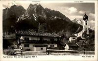 Grainau Bayern alte AK ~ 50er Jahre gelaufen Dorfpartie Blick auf die Zugspitze