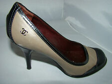 pre-owned authentic CHANEL 2 tone cap toe SPECTATOR PUMPS size 38 1/2 good cond!