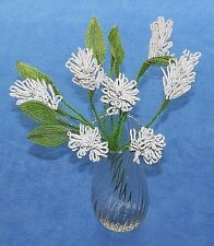 Vintage French Glass Beaded White Sage (Large) Flower Bouquet