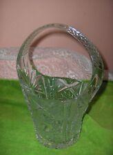 Vintage Lead Crystal Glass Basket Vase Hob Stars Pineapples NICE