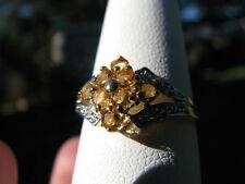 Citrine Round Cut Cluster & Diamond Ring 10KT SOLID YG
