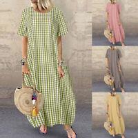 ZANZEA Womens Short Sleeve Round Neck Check Dress Ladies Maxi Dresses Kaftan