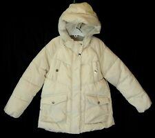 Girls Zara Cream Beige Shimmer Padded Hooded Puffa Coat Age 8 Years