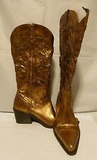 CARLOS SANTANA SLINGER Bronze Leather Cowgirl Western Flowers Boots Size 6.5
