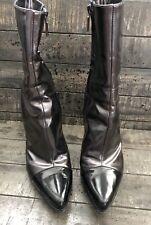 da0862025bf Casadei Black Gray Patent Leather Ankle Boots 8.5