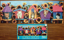 """2014 CEACO 700-PC PUZZLE Long Shots KITTENS IN BIRD HOUSES 34"""" x 12"""""""