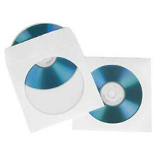 Hama 100 CD ROM DVD Papierhüllen Fenster weiß Leerhülle Sleeves mit Lasche