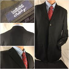 Coppley Suit 38R Black 3btn 2 Vent 33x31 Pleats Bespoke EUC YGI 48rr