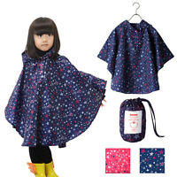 Boy Girl Children Kids Raincoat Rain Coat Rainwear Rain Suit Poncho Cape Hooded