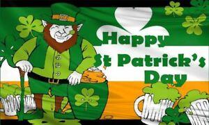 St Patricks Day Leprechaun Large Flag Paddys Irish Ireland Party 5x3/150x90cm