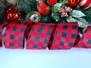 CHRISTMAS WIRED EDGE RIBBON 2.5 IN WIDE RED CHECKERED WRAP GIFT WRAPPING BULK