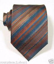 "Missoni Turquoise & Orange Stripe Silk Tie 3.25"" W 58"" L Made in Italy"
