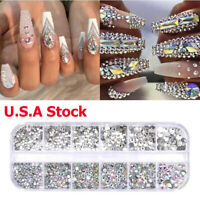 12Box/Set Crystal Rhinestone Diamond Gems 3D Glitter Nail Art Decoration U.S.A