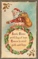 Vintage Postcard 1911 Embossed Santa Claus Christmas Toys Artist Pc