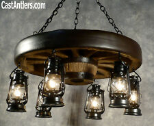 "30"" Reproduction Hanging Lantern Wagon Wheel Country Chandelier - Made in USA"