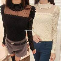 New Women Long Sleeve Floral Pearl Neck Lace Embroidery T Shirt Blouse Tops Tee