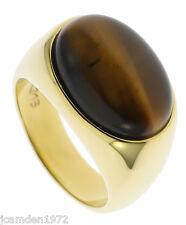 Sleek Tiger Eye Oval 18K Gold Overlay Mens Ring Size 13