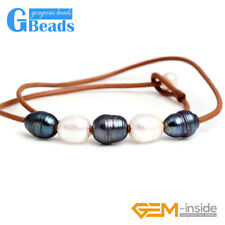 """Fashion Jewelry 9-10mm 5 Pearls Strand Brown Rope Necklace Adjustable Size 17.5"""""""