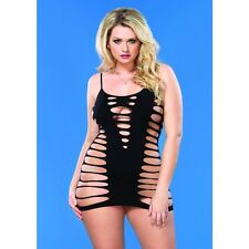 LA-86591Q Plus Queen Size Sexy Black Strappy Mini Dress Clubwear Dancer Wear